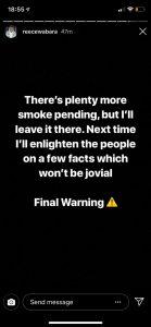Reece Wabara Instagram story