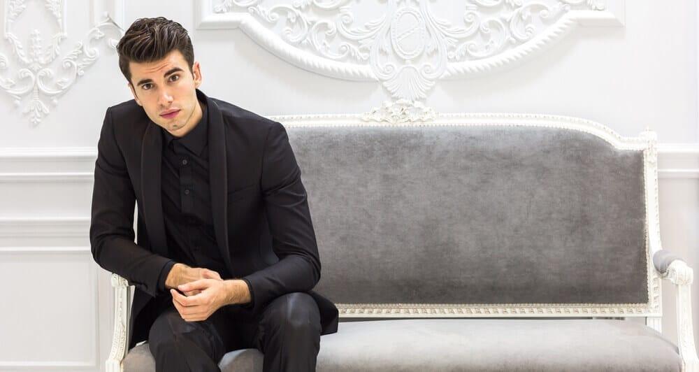 black suit black shirt