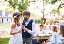 a new bride in a stunning wedding reception dress