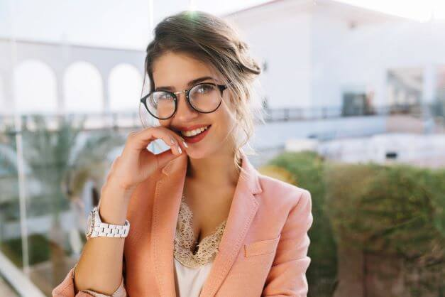 beautiful girl with makeup and glasses