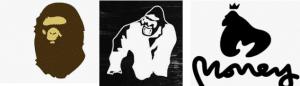 Clothing brands BAPE, Gorilla Wear, Money Clothing Logo's